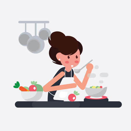 Women cooking in prepares delicious dish in kitchen - Flat Design