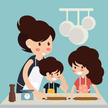 Mother and daughter rolling out the dough for cookies - Cooking together with kid Illustration