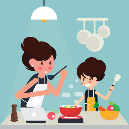Mother and girl cooking at home together. Vector illustration