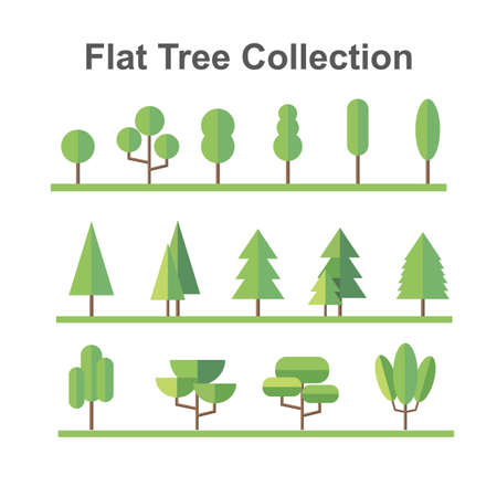 Flat trees vector icons.