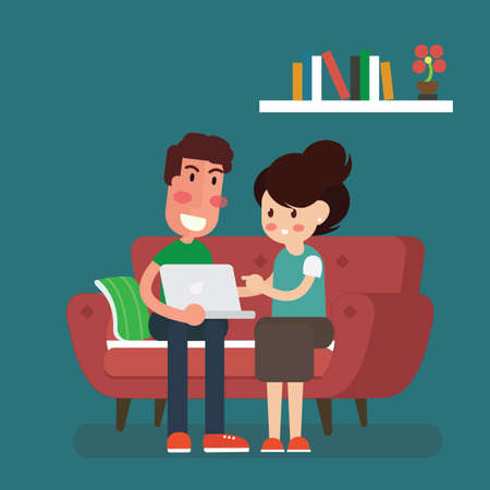 Couple sitting on the sofa sharing a laptop, isolated flat style vector illustration