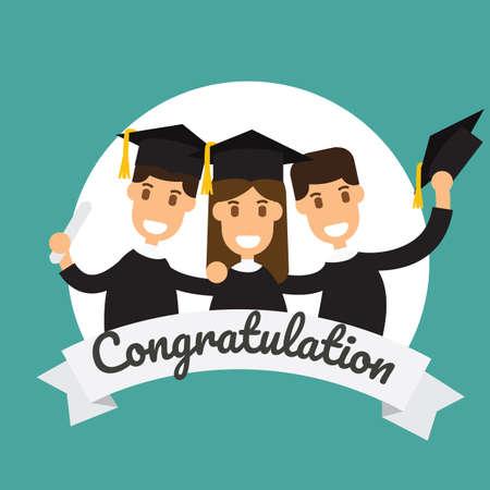 Graduation celebration concept with three graduates on color background. Vector illustration. 일러스트