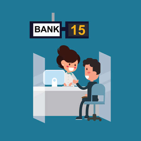 Client with Bank Service at the bank office - Flat Design