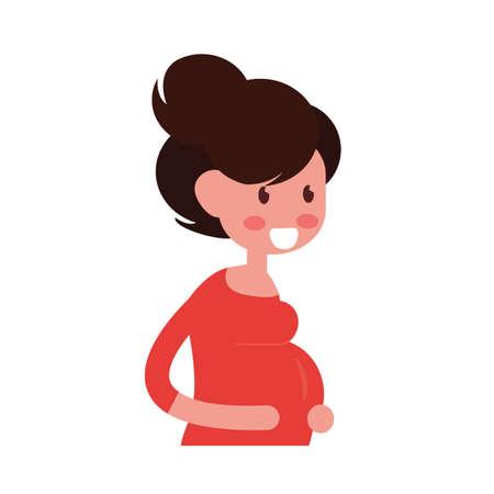 Pregnant cartoon woman flat design on white background