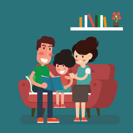 Mother, father and daughter sitting on sofa and reading book Vector illustration.