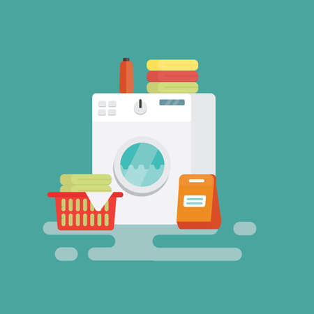 Washing machine Flat Design vector illustration Ilustração
