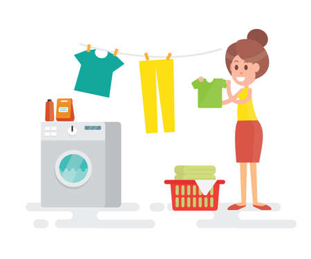 Housewife washing and hanging clothes on a rope vector illustration Ilustração