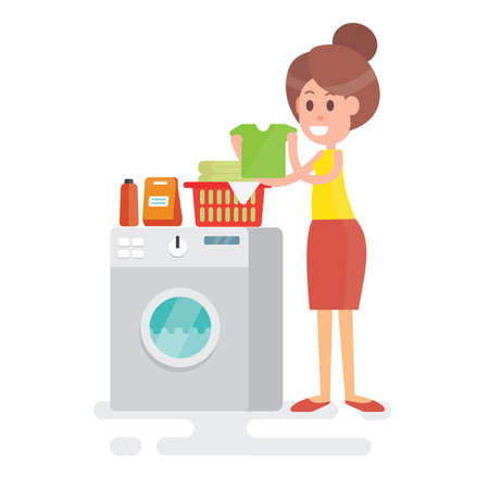 Housewife with clothes in her hands next to the washing machine vector illustration