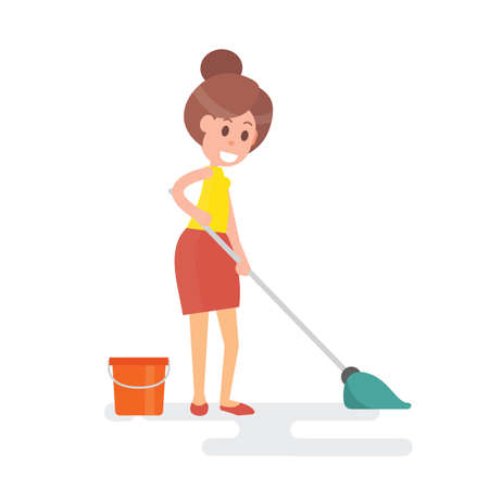 Woman housewife mopping floor isolated on plain background