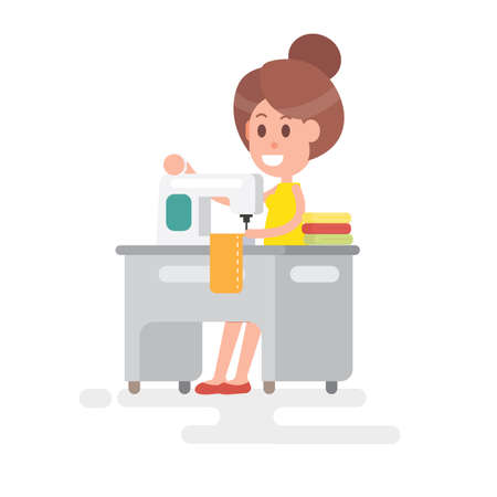 Woman housewife with sewing machine on white background