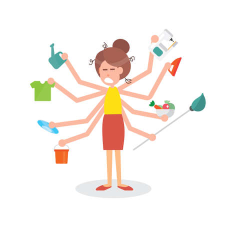 Busy multitasking housewife woman with many hands - on white background Illustration