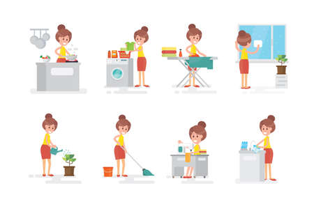 Set of woman housewife doing various household chores - on white background Ilustração