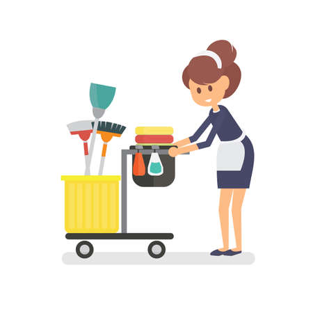 Maid character cleaning service of hotel Çizim