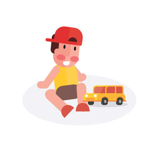 Baby boy playing his toy car Illustration
