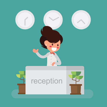 Reception service hotel desk - flat style illustration. Çizim