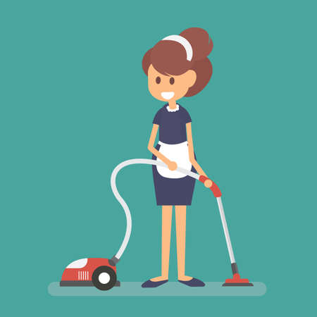 Maid wearing uniform with vacuum, cleaning service of hotel Ilustração