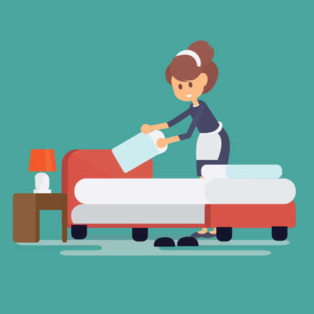Hotel maid setting up pillow on bed sheet in hotel room Vector illustration.