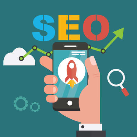 SEO on mobile concept -Research of information in network. Internet search