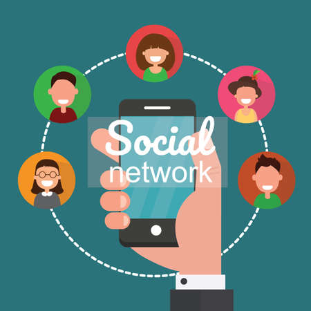 Social network communication flat illustration. Ilustração