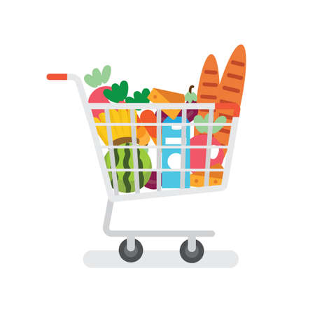 Grocery cart supermarket with products flat design.