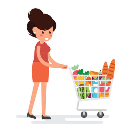 Woman is carrying a grocery cart in the supermarket flat design.