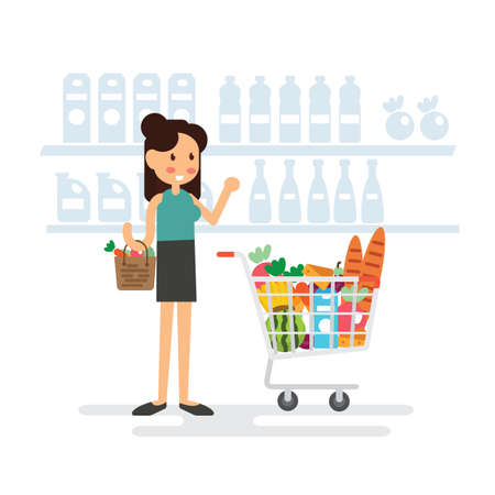 Woman shopping in supermarket flat design. Çizim