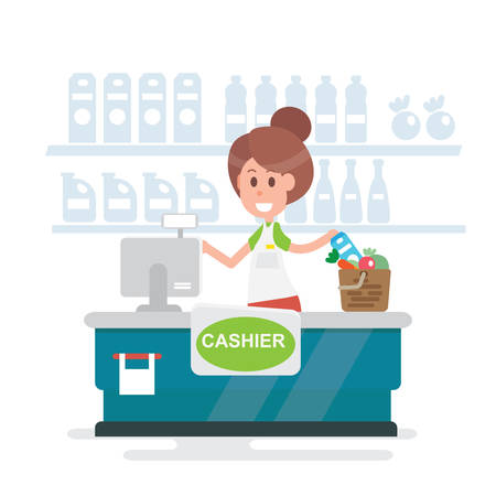 Girl cashier at the cash register supermarket - Flat style vector