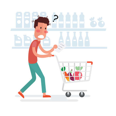 Confused Man Shopping At The Supermarket - Flat Design