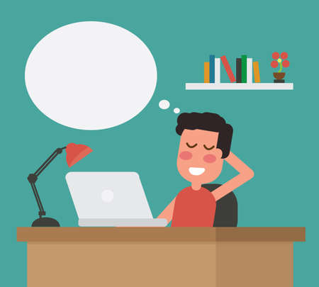 Man at work with dreams about something - Flat design cartoon style. Ilustração