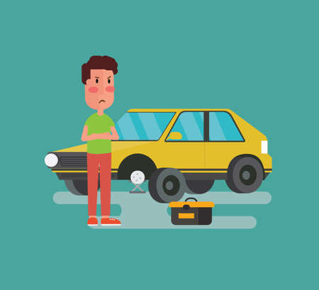 Man standing at broken vehicle on road - Vector illustration in a flat style