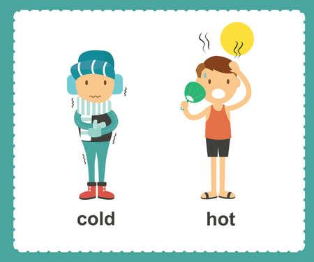 Illustrazione fredda e calda di vettore di parole inglesi opposte