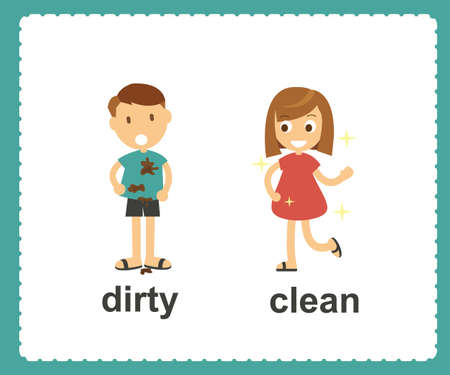 Opposite English Words dirty and clean vector illustration 일러스트