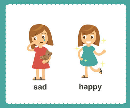 Opposite English Words sad and happy vector illustration
