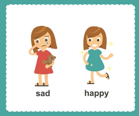 Gegenüber Englisch Wörter traurig und glückliche Vektor-Illustration