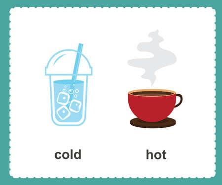 Opposto inglese freddo e caldo illustrazione vettoriale