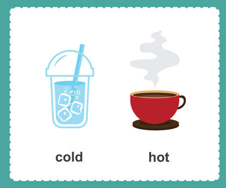 Opposite English cold and hot vector illustration