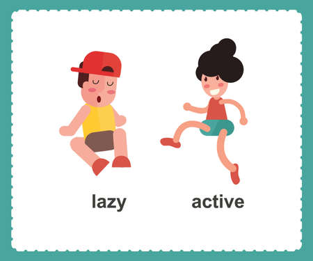 Opposite English Words active and lazy vector illustration