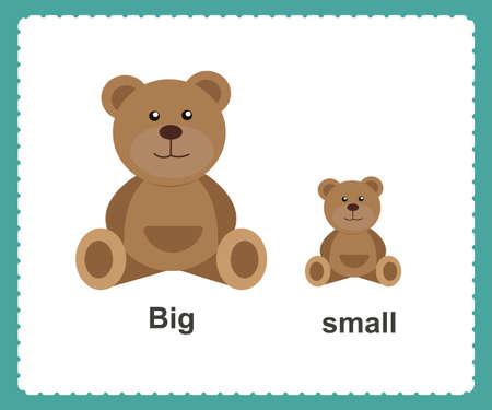 Illustrazione vettoriale di parole inglesi opposte grandi e piccole