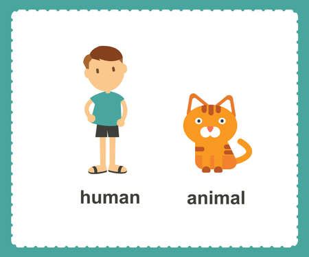 Opposite English Words human and animal vector illustration