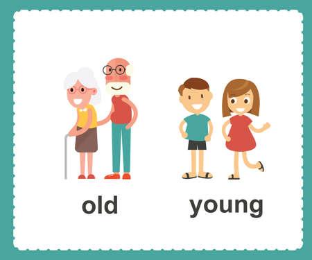 Palabras opuestas en inglés que muestran la ilustración de vector de viejos y jóvenes