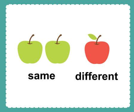 Palabras opuestas en inglés iguales y diferentes ilustración vectorial. Ilustración de vector