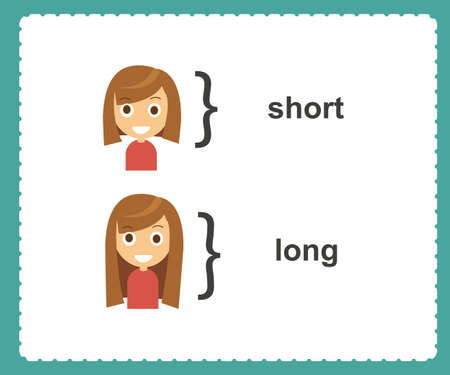 Opposite English words short and long vector illustration