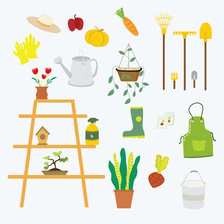 Garden tool vector gardening equipment set illustration isolated on white background