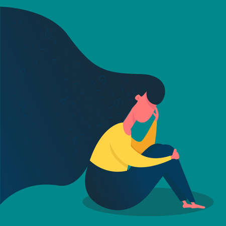 Sad woman sitting .The frustrated girl covers her face with her hands. stressed out. Flat character vector illustration