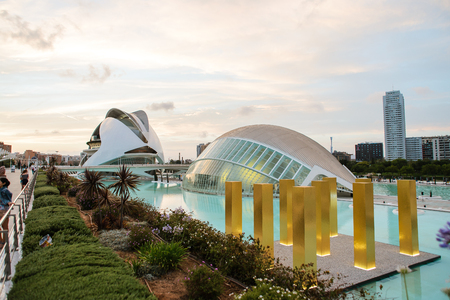 sciences: Beautiful view of the City of Arts and Sciences in Valencia, Spain