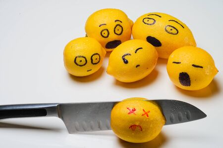 Lemons with emotions killed with a knife