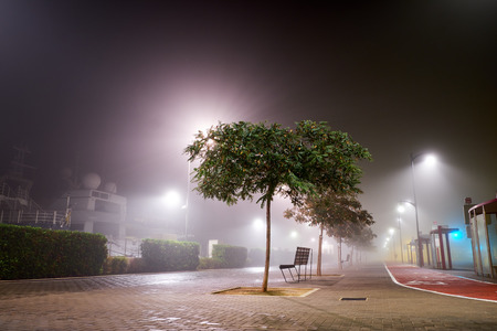 Night photo streets in Denia the fog