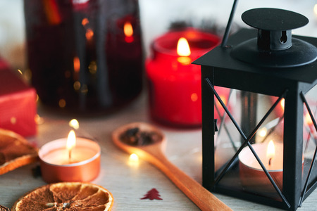 Beautiful new year interior decorations with christmas decor and lantern with candle. 版權商用圖片