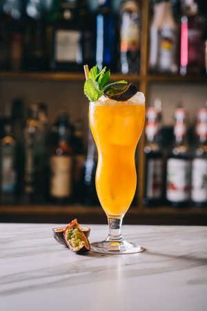 Passion fruit cocktail, on the bar
