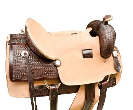 leather saddle Stock Photo